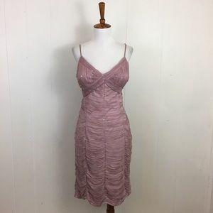 Sue Wong Blush Ruched V-Neck Sheath Dress